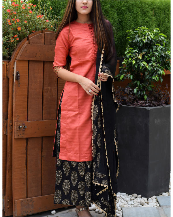 Red and black kurta palazzo and dupatta set 1
