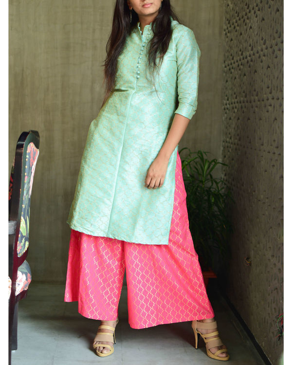 Mint green kurta with pink palazzo 2
