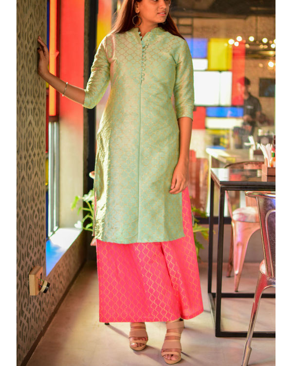 Mint green kurta with pink palazzo 1