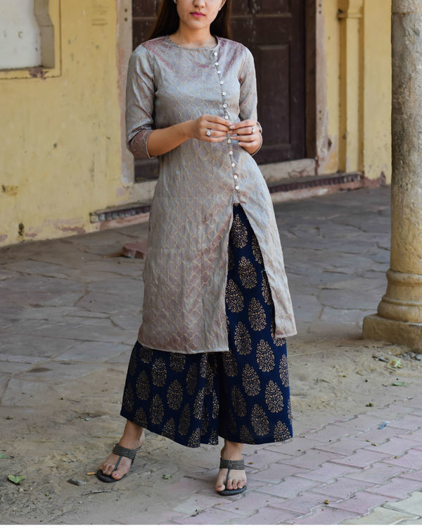 Grey kurta with gold block print palazzo 2