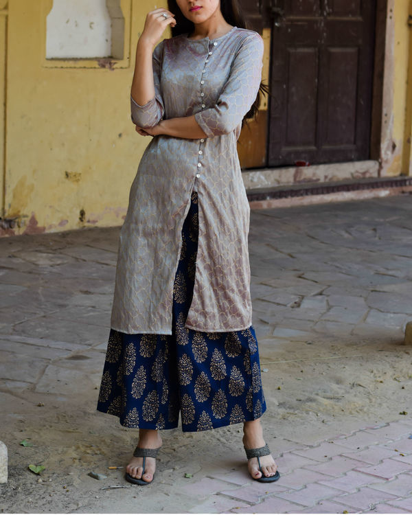 Grey kurta with gold block print palazzo 1