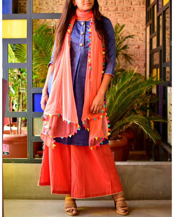 Blue kurta with peach palazzo and dupatta 2