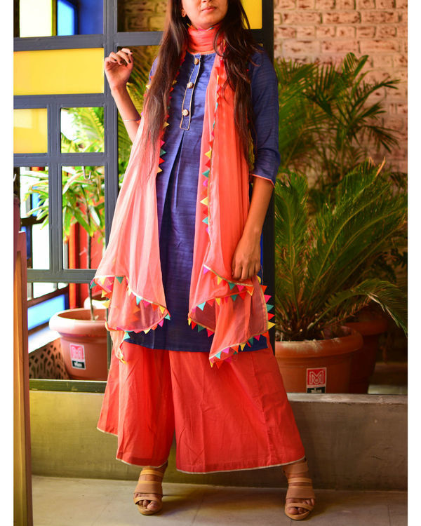 Blue kurta with peach palazzo and dupatta 1