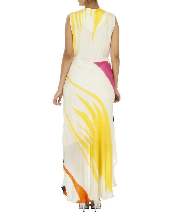 White And Yellow Hand painted long dress 1
