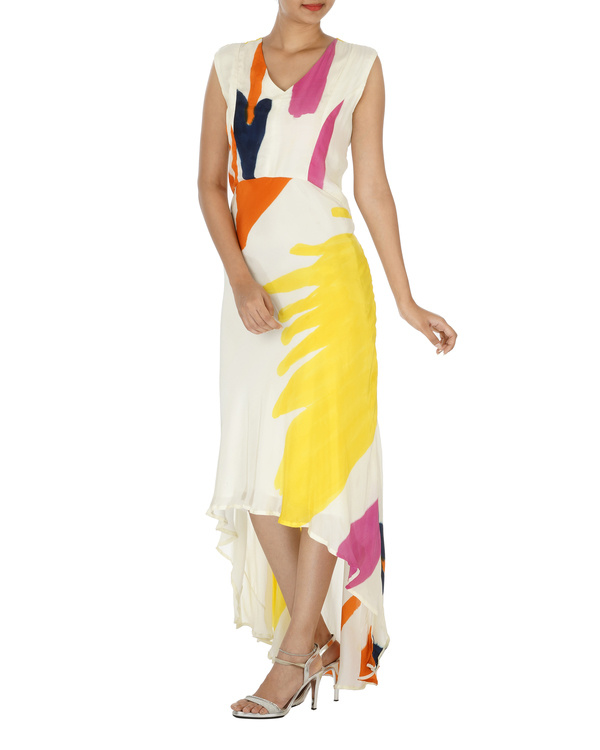 White And Yellow Hand painted long dress 2