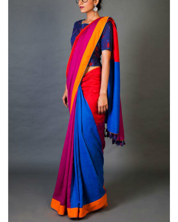 Blues and pinks sari 4