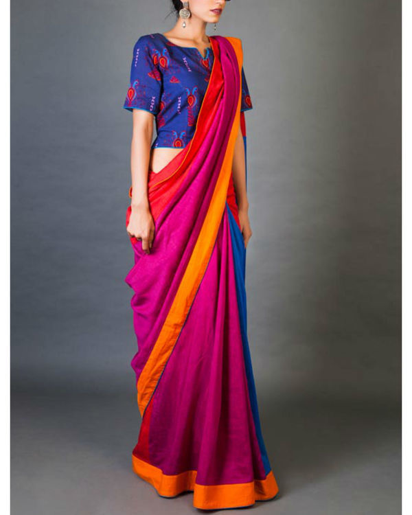 Blues and pinks sari 3