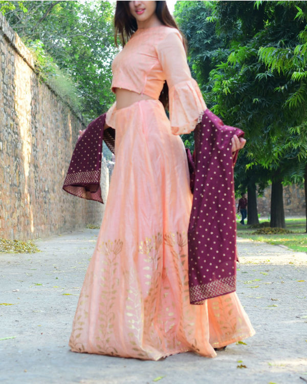 Peach and maroon chanderi lehenga set 4