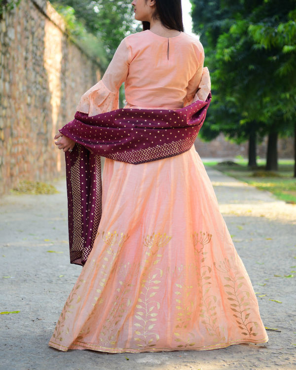 Peach and maroon chanderi lehenga set 3