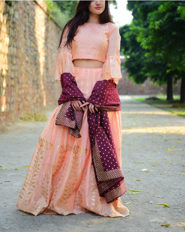 Peach and maroon chanderi lehenga set 2