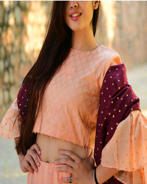 Peach and maroon chanderi lehenga set 1