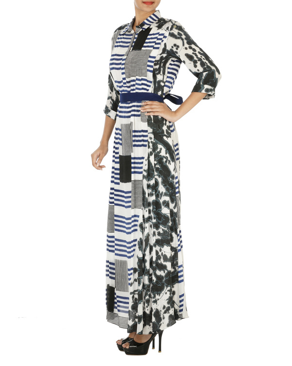 Hand painted striped long dress 2