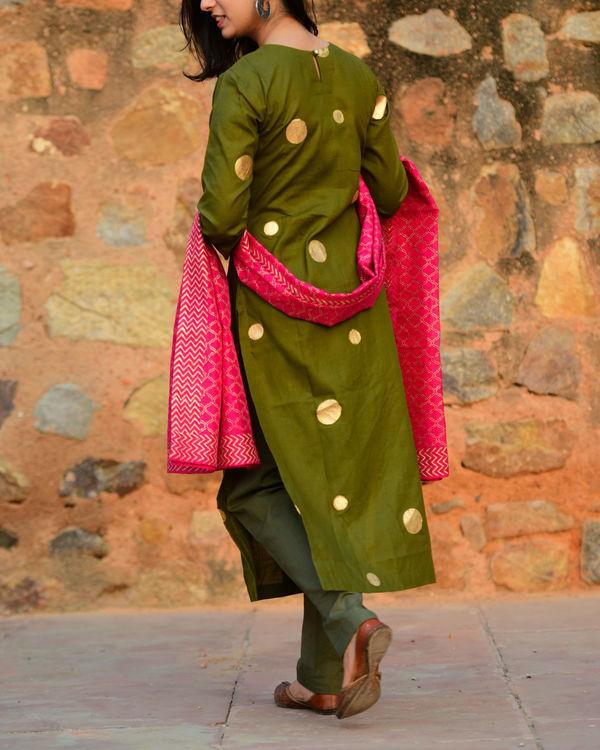 Moss green and pink salwaar set 1