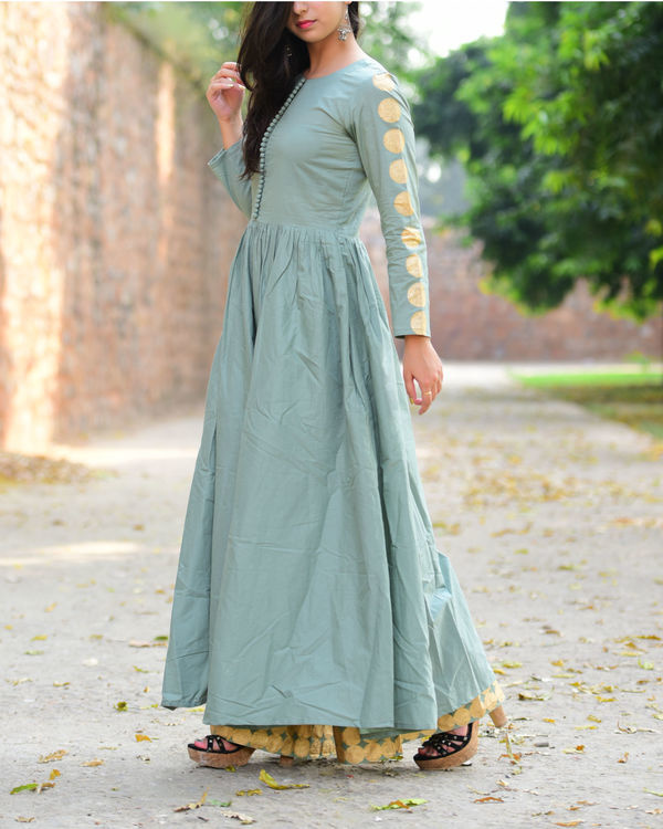 Opal blue and maroon anarkali palazzo set 2
