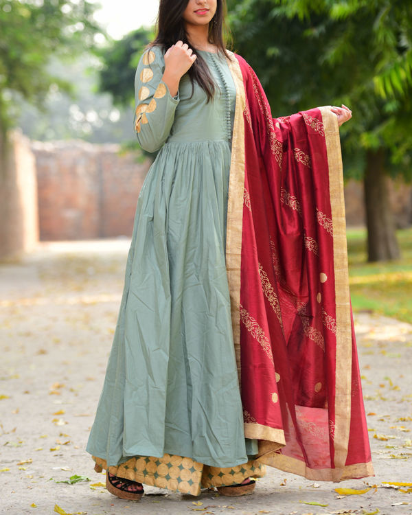 Opal blue and maroon anarkali palazzo set 1