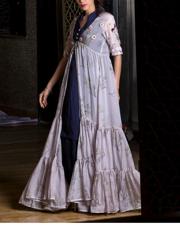 Lavender printed cape with kurta and dhoti pants 1