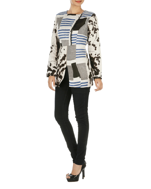 Blue striped overlap jacket 2