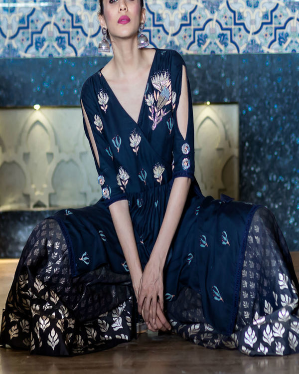 Midnight blue printed kurta with foil printed sharara 3