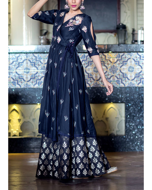 Midnight blue printed kurta with foil printed sharara 1