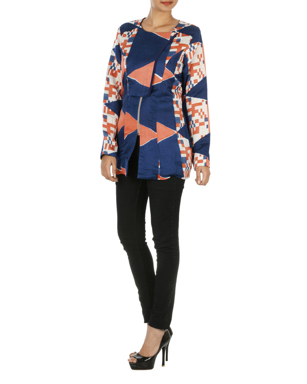 Blue and coral overlap jacket 2