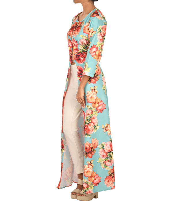 Turquoise floral cape 1