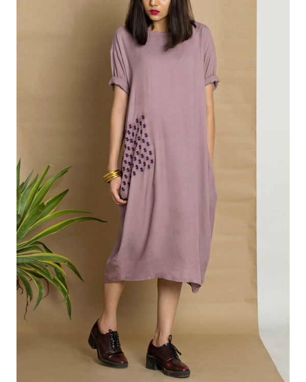Purple moss crepe loose fit dress 2