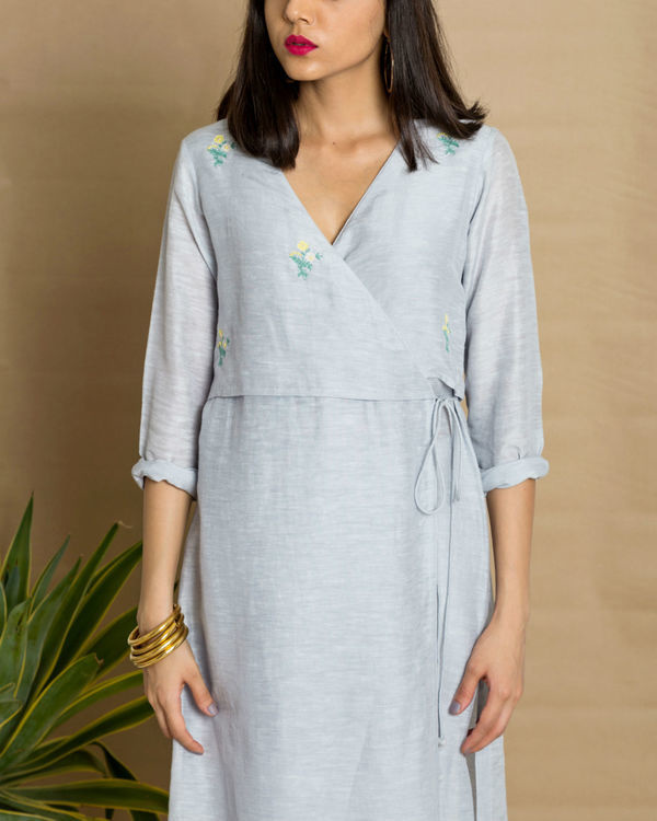 Blue moss crepe wrap tunic 1