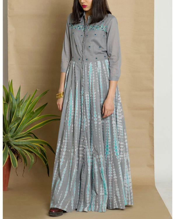 Grey cotton tie and dye maxi dress 2