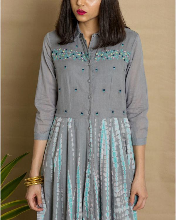 Grey cotton tie and dye maxi dress 1