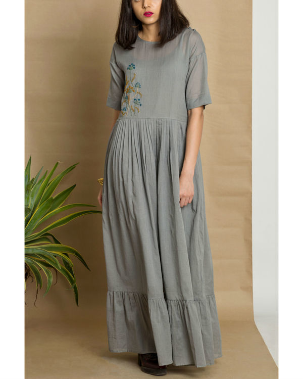 Grey cotton mul hand embroidered maxi dress 2