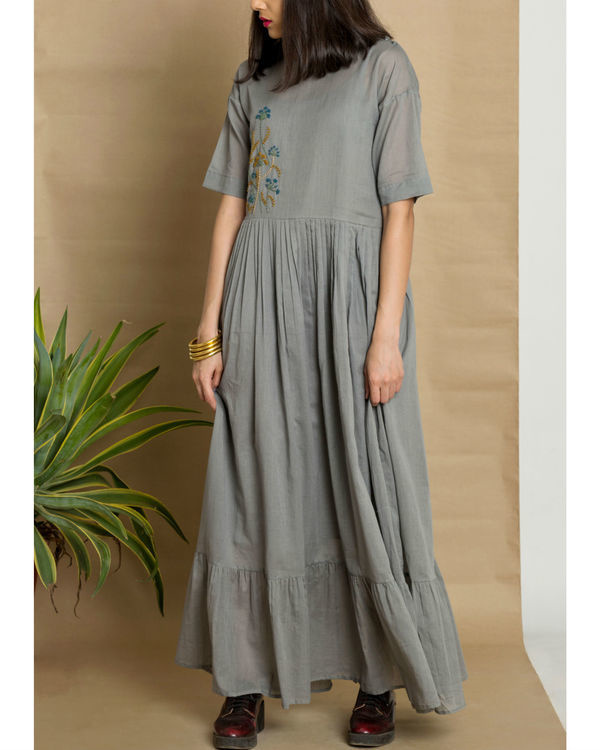 Grey cotton mul hand embroidered maxi dress 1