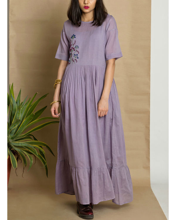 Mauve cotton mul hand embroidered maxi dress 2