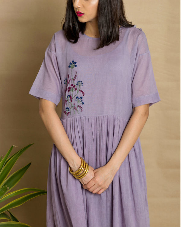 Mauve cotton mul hand embroidered maxi dress 1