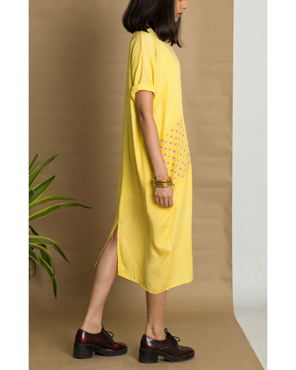 Yellow moss crepe pleated yellow dress 2