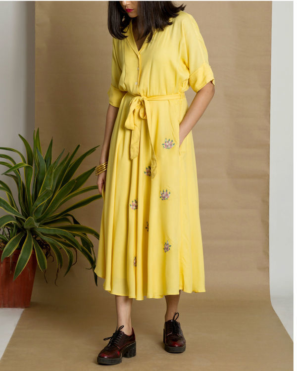 Yellow moss crepe circular dress 1