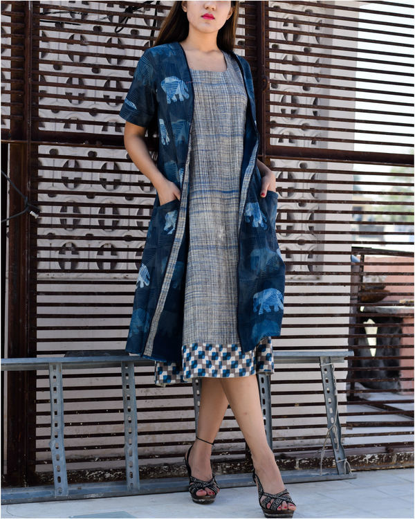 Grey dress with blue elephant print jacket 2