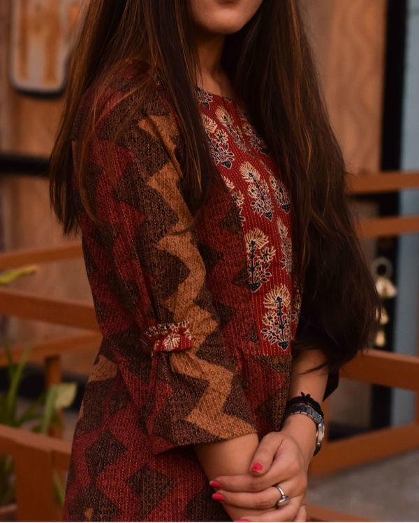 Maroon and brown shades dress 2
