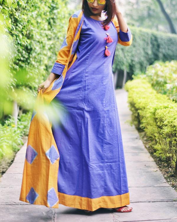 Deep purple & mustard cape maxi 2