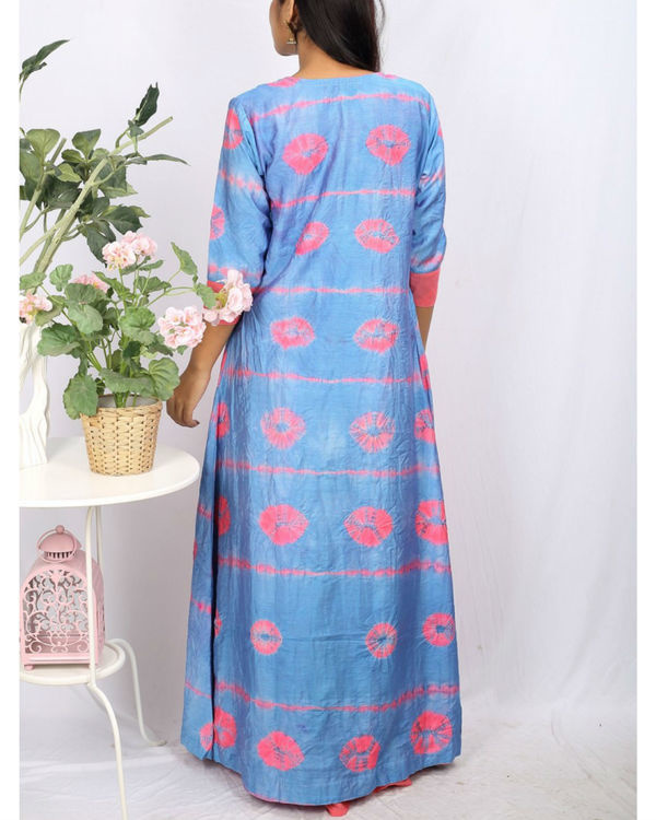 Pink & blue bandhej cape maxi set 2