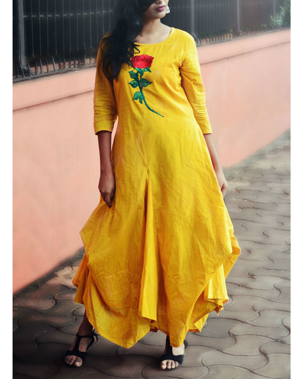 Mustard floral jute cowl dress 4