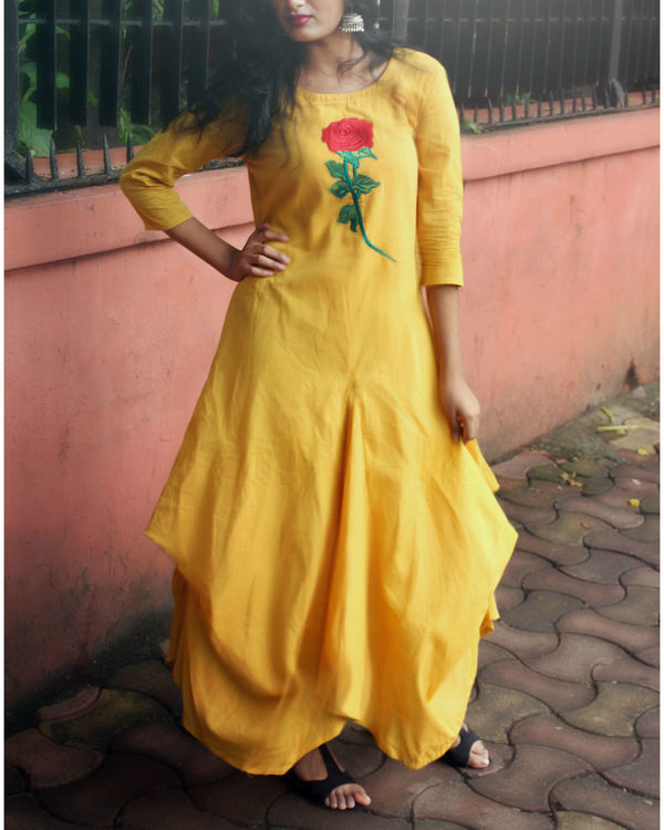 Mustard floral jute cowl dress 3