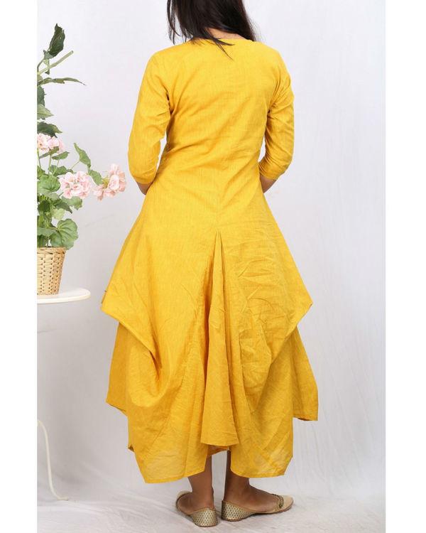 Mustard floral jute cowl dress 2
