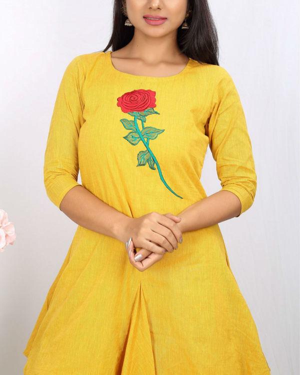 Mustard floral jute cowl dress 1