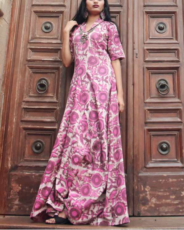 Pink floral cowl maxi 2