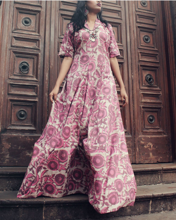 Pink floral cowl maxi 1