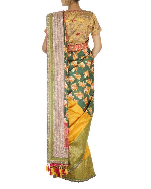Printed silk and benarasi woven half and half saree 1