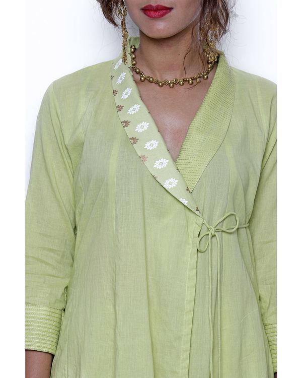 Pista green angrakha & pant set 2