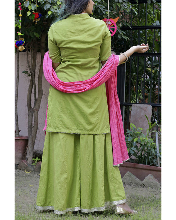 Parrot green sharara set with pink dupatta 3
