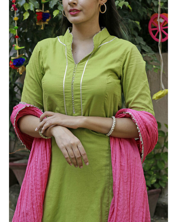 Parrot green sharara set with pink dupatta 2
