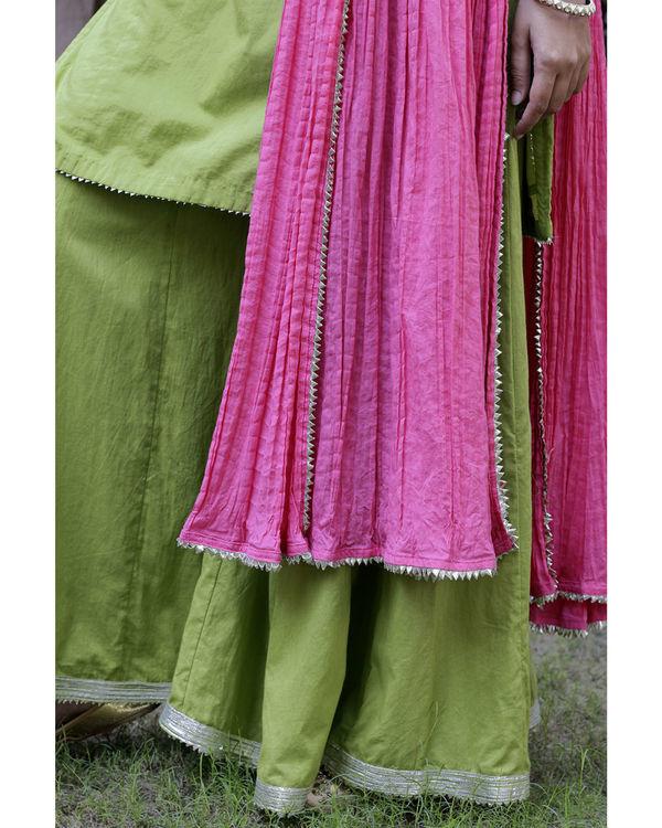 Parrot green sharara set with pink dupatta 1